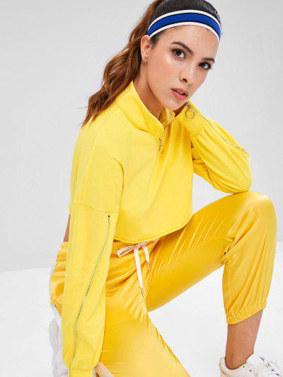 Zip Mock Neck Crop Sports Sweatshirt - Yellow L