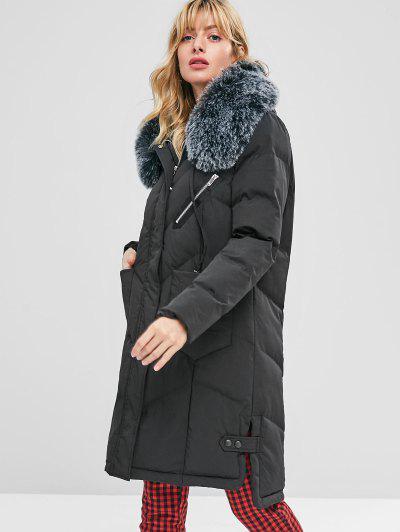 Faux Fur Hood Padded Parka Coat - Black M