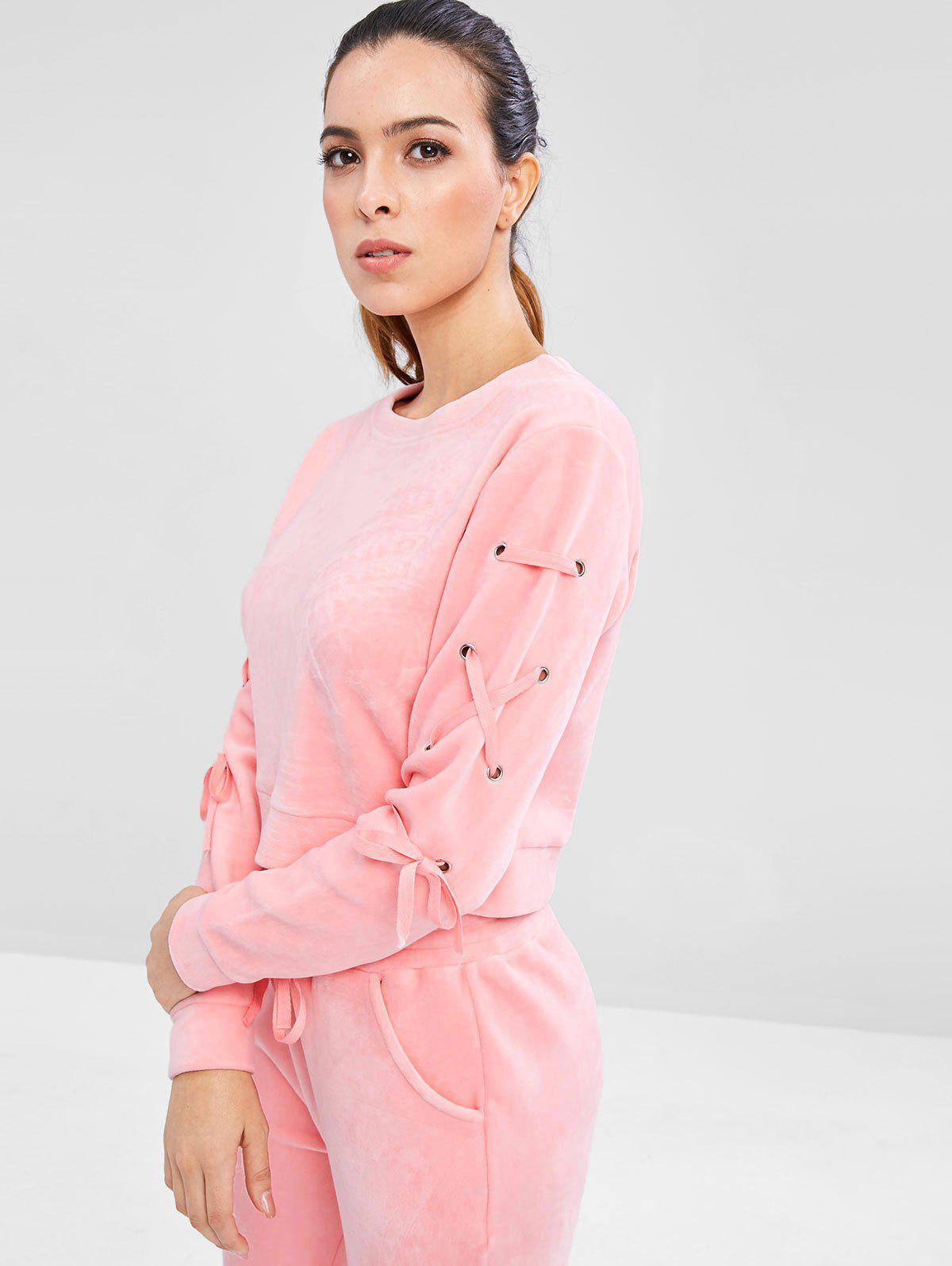 Velvet Lace Up Sweatshirt