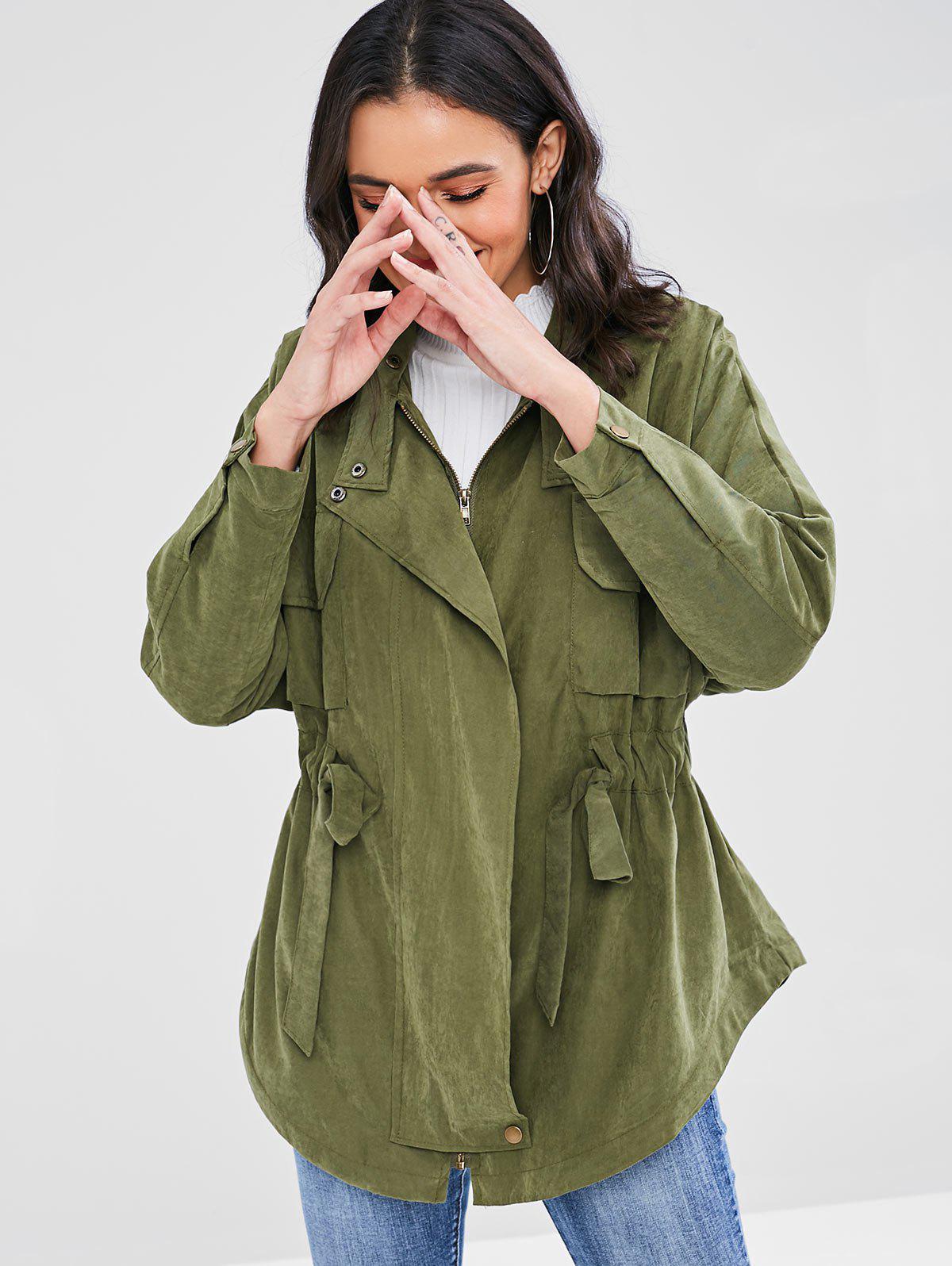 Flap Pockets Elastic Tie Waist Jacket, Army green