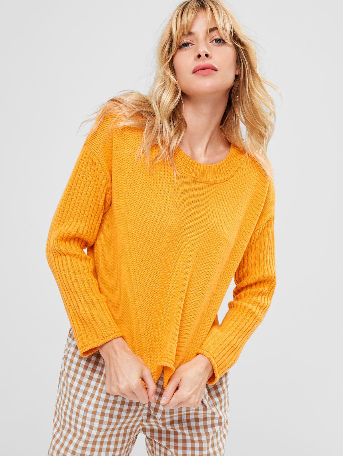 Ribbed Sleeve Drop Shoulder Sweater