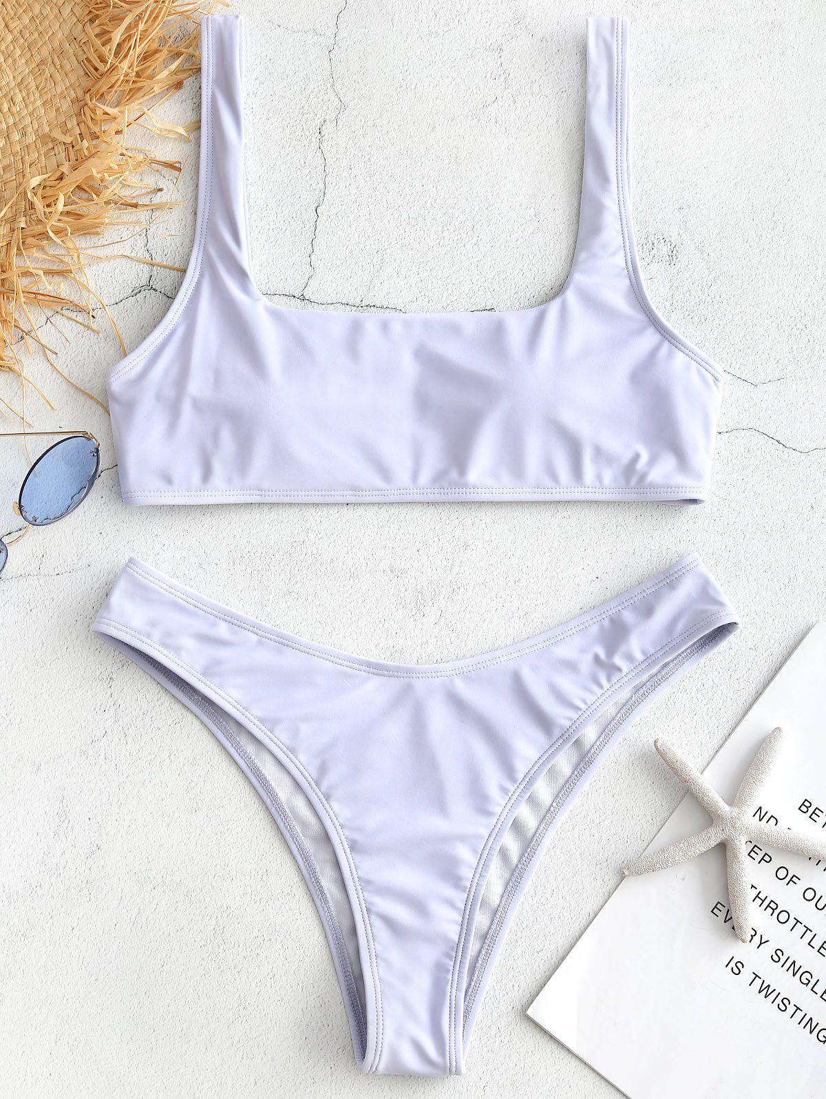 ZAFUL Square Collar Tank Bikini Set, Lavender blue