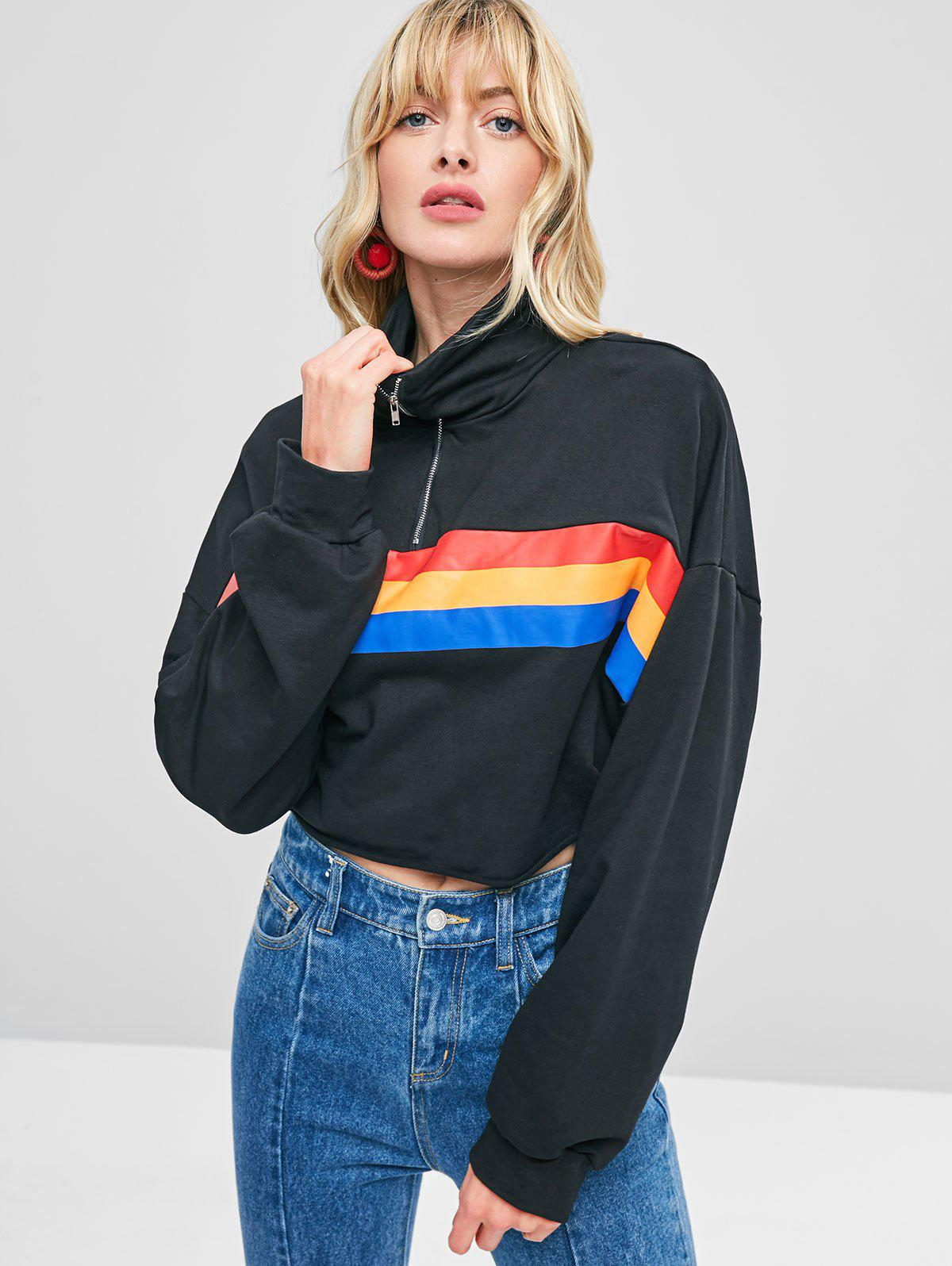Cropped Zip Front Striped Sweatshirt