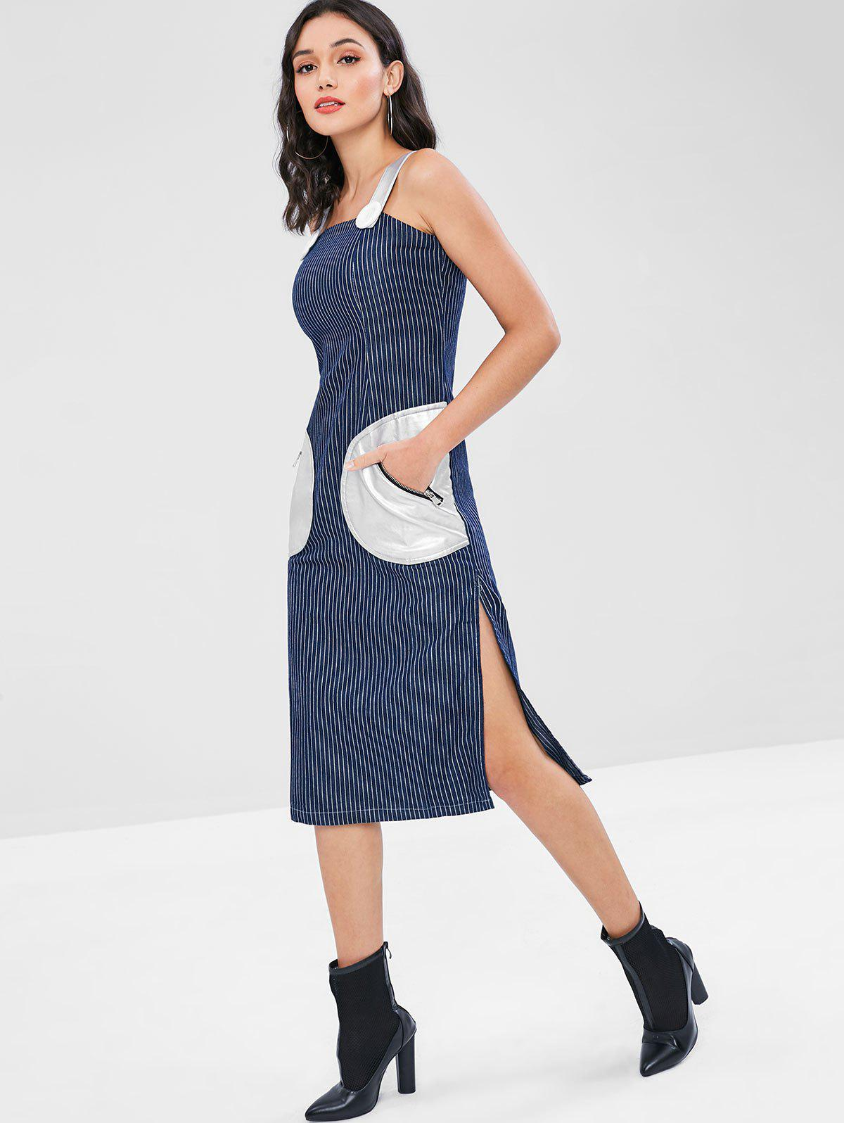 Contrasting PU Pockets Pinstripe Denim Midi Dress 276597701