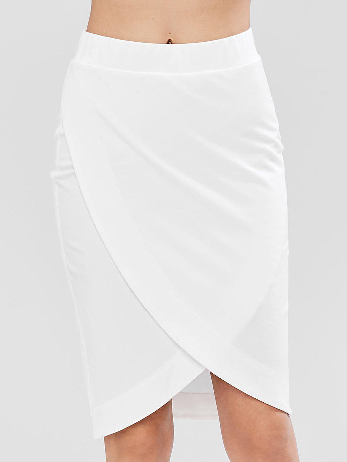 Pull On Crossover Midi Pencil Sweat Skirt, White