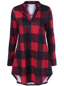 Split-Neck Plaid T-Shirt - الأحمر مع الأسود L