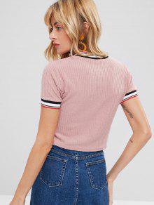 shirt Trim Striped Rosado S T Knit xqYOPnt4