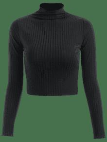 Acanalada De M Cuello Camiseta Negro Falso ACgqn8qdwx