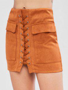 الرباط حتى فو تنورة من جلد الغزال - النمر البرتقالي L