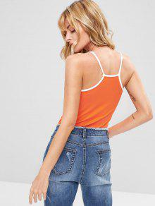 Graphic Piping Top Papaya Naranja Cami wa6rqXaT