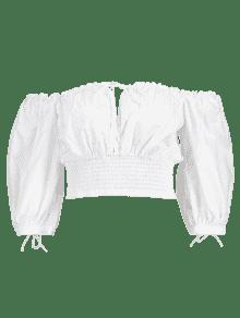 Desgastado Blanco Redondo Cuello M Blusa Y Cuello Corta Con wa0gxFYn