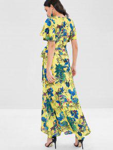 S Largo Y De Multicolor Vestido Con Florales Flores Estampado Faldas vwUWqOxRz