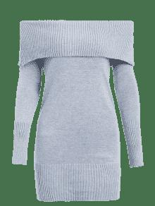 ae19c52e33 31% OFF  2019 Off The Shoulder Overlay Sweater Dress In LIGHT GRAY ...
