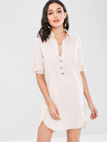 فستان بنمط تيشيرت بأكمام قصيرة - شامبانيا L