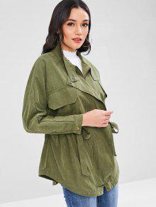 Verde Ej Del Elastic Jacket Waist Pockets Tie Flap q1B6Xc