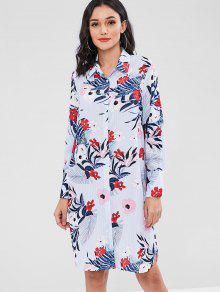 فستان بنمط قميص مطبع - متعدد L