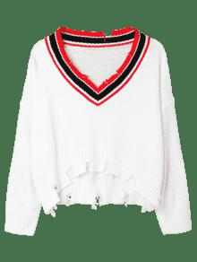 Blanco Sweater Ripped Plunge Trim Stripe xfwzHgqy