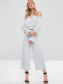 Stripes Off Blanco S Set Pants Shoulder CWUrBCvqw