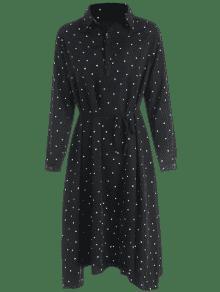 243;n Con Vestido De Lunares Negro Camisa Cintur Y Pv8x8I