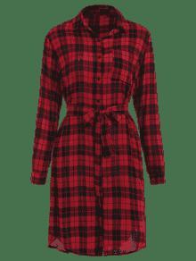 De Cuadros Rojo Manga Bolsillo De S Parche Con Camisa De A Larga Vestido xRSOaz