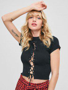 Front Up S Crewneck Slit Ribbed Negro Lace Tee Wqp7xHwn