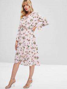 A Vestido Con S Volantes Superpuestos Pierna Rosa Chicle Media Uapn6pd