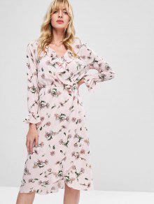 الكشكشة التداخل الأزهار فستان ميدي - بينك الزهر L