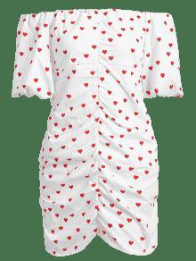 Con 243;n Completo Ajustado S Coraz Vestido Blanco De Estampado vXYp5q