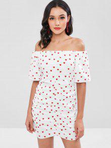 فستان بقصة ضيقة (بديكون) وطبعة على شكل قلب - أبيض L