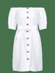 Abotonado El S Blanco Vestido En 243;n Hombro Con Cintur qxwtaF