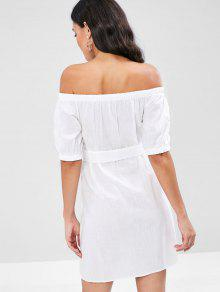 El Blanco S Cintur En Vestido Abotonado 243;n Hombro Con nW0q1wCXFv