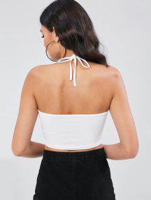 Top Letter Halter Open S Back Floral Blanco t5IqAPqw