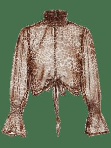 Semi Leopardo Cuello S Alto De Leopardo Estampado Blusa gYw6xXSnY