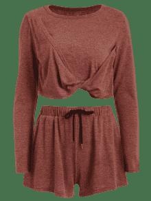 Conjunto Crop Pantal Casta S Y Corto Camiseta De Twist a 243;n Front nrOrpq1wx8