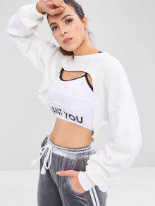 ZAFUL Raw Hem Crop Open Bust Sweatshirt - أبيض S