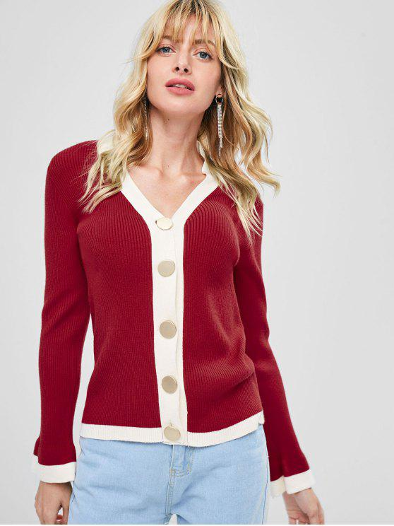 affordable Contrast Trim Ribbed Cardigan - LOVE RED ONE SIZE