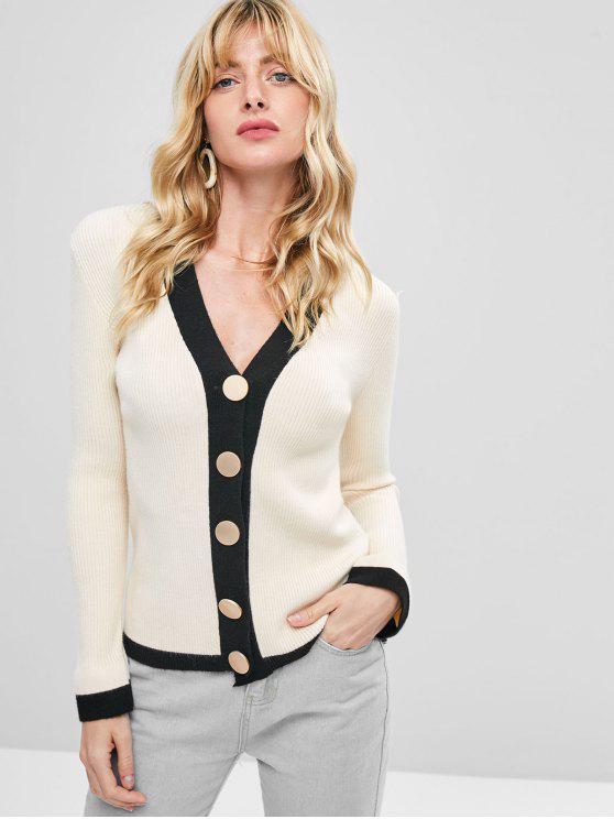 Cardigan Côtelé à Bordure Contrastée - Blanc Chaud Taille Unique