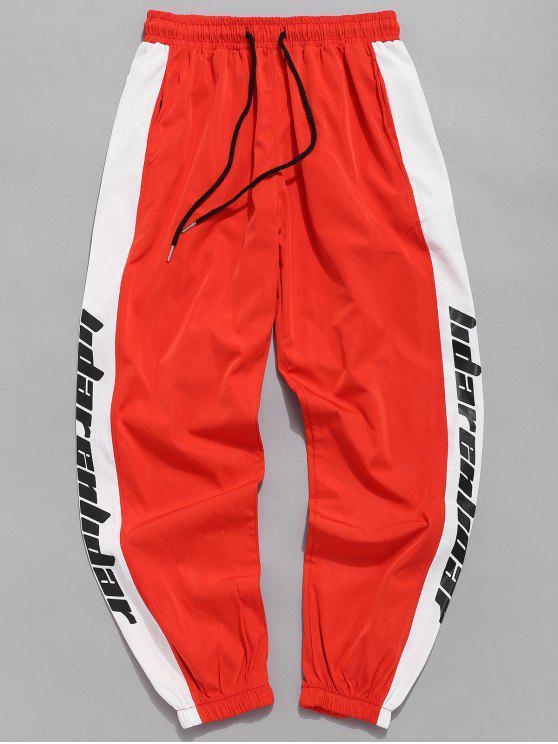 Pantaloni Da Jogging Impermeabili A Righe Laterali Di Lettere - Arancione brillante XS