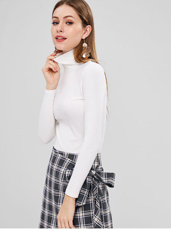High Neck geripptes tailliertes T-Shirt - Weiß M