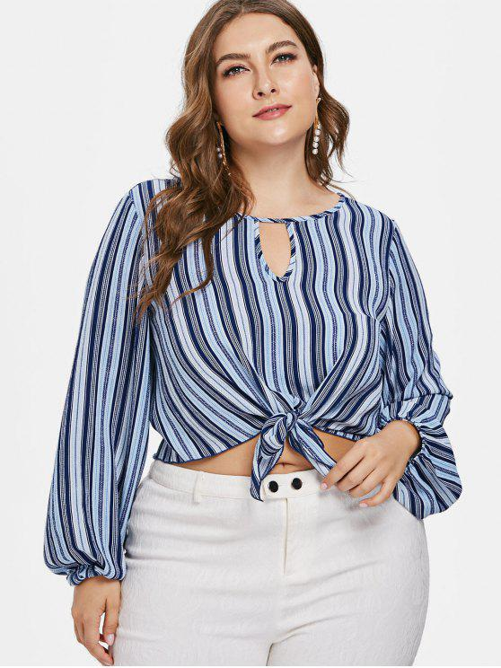 new Front Knot Plus Size Striped Blouse - MULTI L