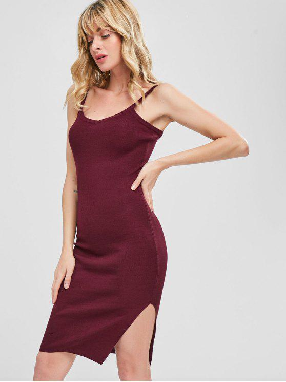ladies Side Slit Sleeveless Knitted Dress - RED WINE ONE SIZE