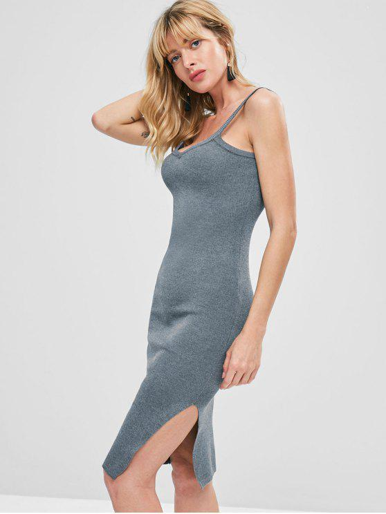 best Side Slit Sleeveless Knitted Dress - LIGHT SLATE GRAY ONE SIZE