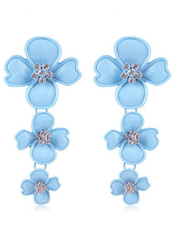 Strass Blumen Design Tropfen Ohrringe - Blau Lagune