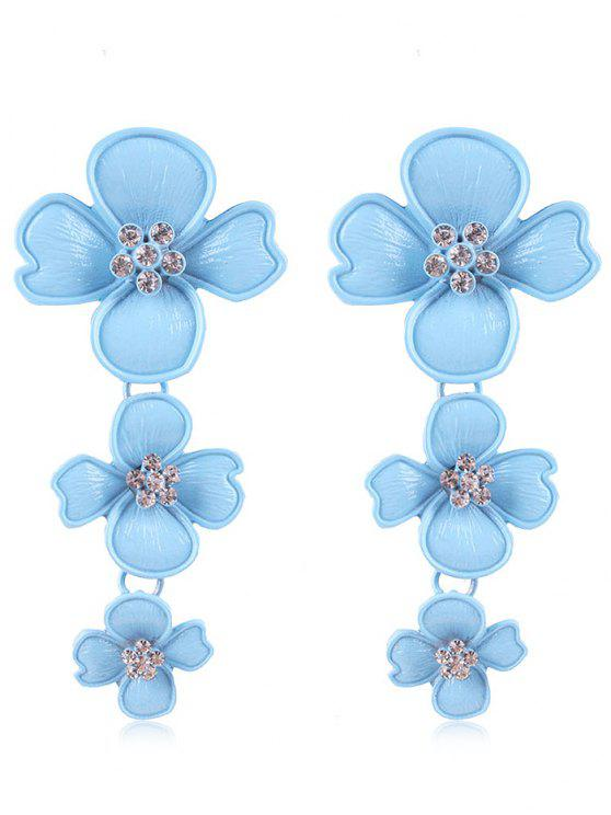 Pendientes de diseño de flores de diamantes de imitación - Laguna Azul
