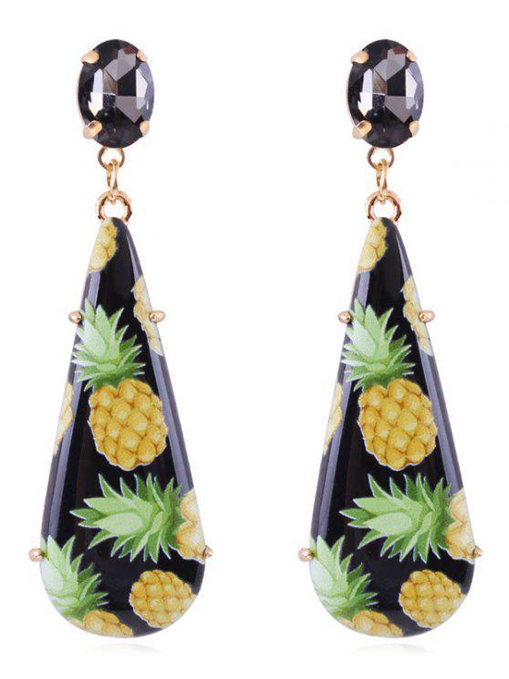 Orecchini Pendenti A Forma Di Lacrima Con Ananas - Nero