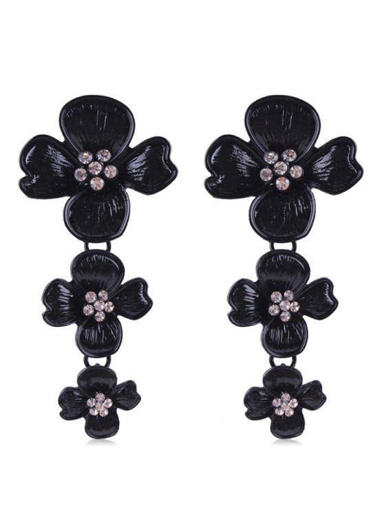 Strass Blumen Design Tropfen Ohrringe - Schwarz