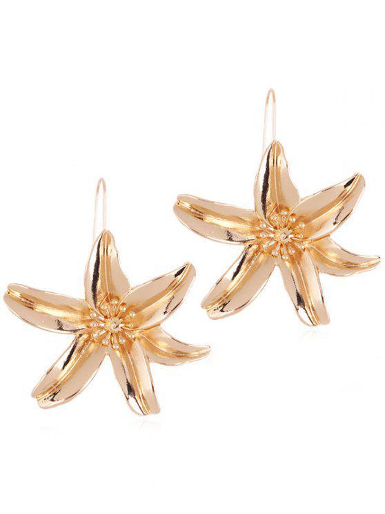 Blumen Design Drop Haken Ohrringe - Gold
