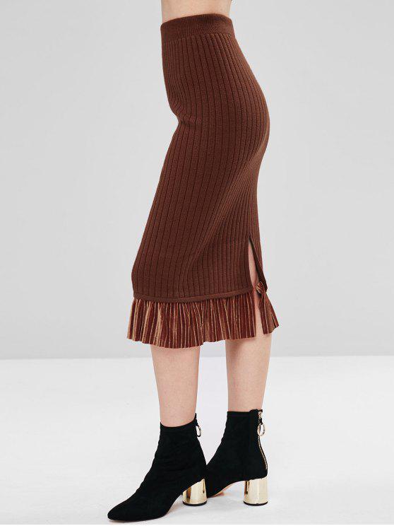 Falda de punto con panel de terciopelo - Marrón Talla única