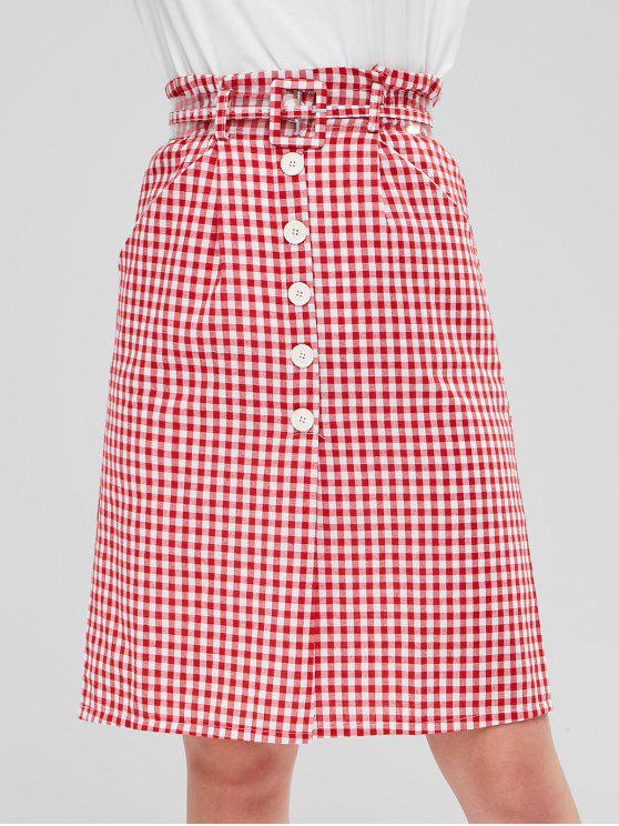 buy Buttons Gingham Belted Skirt - RED L