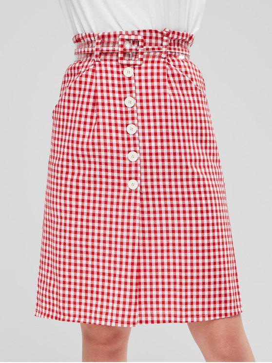 Botones falda con cinturón de gamuza - Rojo M